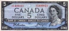 Canadian Five Dollar Bill Canadian Things, I Am Canadian, Canadian History, Coin Collection Value, All About Canada, History Of Wine, Coin Worth, Canada Day, Canada Post
