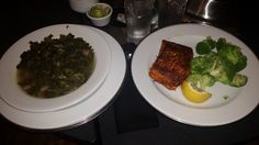 Room service at the Marriot Atlanta Marquis... blackened salmon and collard greens!!! #Happy Girl