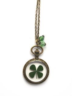 Four Leaf Clover Resin Necklace - Real clover in resin  in open back  Bezel, Pressed Flower Jewelry - Resin Necklace - Resin Jewelry on Etsy, $15.00