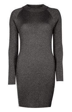 Primark - Vestido lurex canelado justo cor carvão