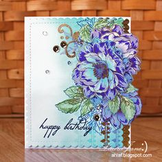 After-Hours Ink & Flowers: The Card Concept # 54 Lilacs and Shades of blue | Altenew Beautiful Day