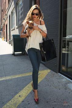 Miranda Kerr Street Style NY Slouch White T-Shirt Blue Jeans Red Heels Dog