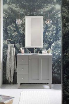 Poplin® Vanity     Poplin Mirror     Purist Faucet     The minimal design lines on this shaker-style vanity reinforce the room's simple, nature-inspired Scandinavian style.