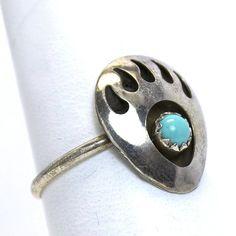 Vintage Sterling Silver Turquoise Bear Paw Ring by JMPierceJewelry