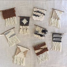 «Working on lil mini weavings as promotional items for an upcoming event. #weaving #tapestry #wovenwallhanging»