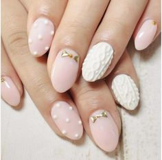 Cute almond shape pink sweater nail art