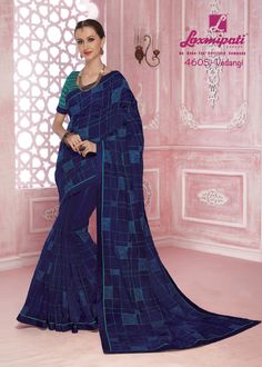 Buy this admirable navy blue colored stone work with brocade lace border along with green rawsilk blouse from Look fresh, look chic! Laxmipati Sarees, Buy Designer Sarees Online, Saree Shopping, Lace Border, Party Wear Sarees, Look Chic, Cotton Saree, Daily Wear, Bridal Collection