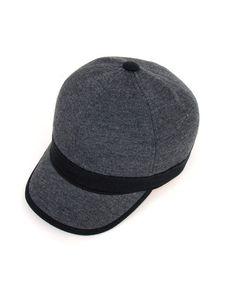 Grey Cotton Blend Baseball Cap with Panel Design