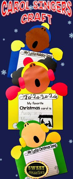 Such a cute Holiday Bulletin Board Carollers craft - choose from optional writing pages for favorite Holiday song, Christmas song or Christmas Carol.