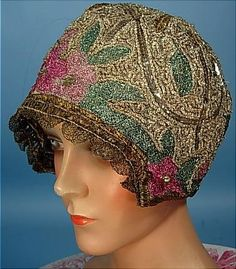 Reproduction Gold Lame and Sequin Cloche (c. 1920s) - Camille Roger of Paris (original)