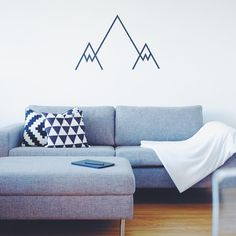 Masking tape DIY in action! Our new living room decoration #maskingtape #diy #mountains #washitape