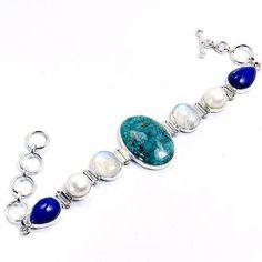 Lapis Lazuli Moonstone Turquoise Bracelet Pearl by TheSilverPlaza