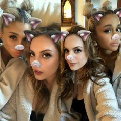 Cute photos of Ariana Grande and her friend as the kitty Snapchat filter.:).