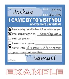 What a great idea!   Sticky Notes 3X3 (50 sheets) - I CAME BY example