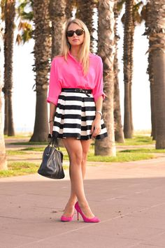 Colorful Life: #neon #pink & #striped #skirt  #