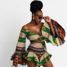 Oyato Designs by Nigerian Odunayo Ade,based in New York. African Inspired Fashion, African Print Fashion, African Fashion Dresses, African Attire, African Wear, African Dress, African Blouses, Ankara Dress Styles, Cute Clothes For Women