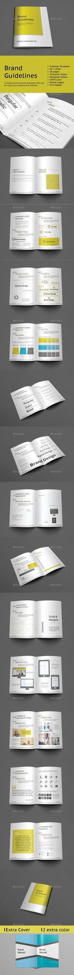 Professional & Clean Brand Manual Template InDesign INDD - 56 Pages ...