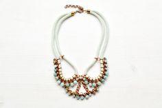 Seil Statement Halskette mit Amazonit Perlen von Gudbling auf DaWanda.com