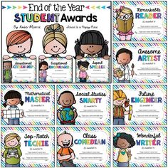 end of the year student awards (editable) Pre K Graduation, Kindergarten Graduation, Kindergarten Lessons, Kindergarten Classroom, Graduation Ideas, Teacher Awards, Student Awards, Lesson Plans For Toddlers, Preschool Lesson Plans