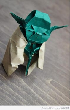 Yoda Origami. -- I once made one of these, and it took me six hours and almost wrecked my brain.