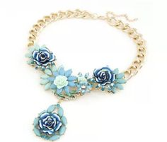 Fashion Luxury Elegant Cute charm Flower Colorful Choker Crystal Necklace