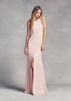 Superb Dramatic Long Halter Bridesmaid Dress White by Vera Wang Collection VW http