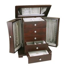 organize your jewelry and accessories with the seven in this wooden jewelry box