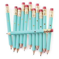 Inklings Paperie Teal Heart Mini Pencils - 12 Count