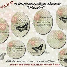 """Images digitales pour collage digital """"mémories"""" pour cabochon bijoux, envoi par mail"""