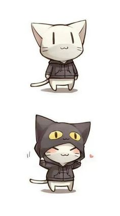 Image result for cat with a cat jacket chibi