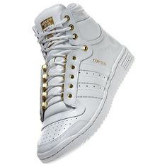 adidas Top Ten Hi Shoes White & Go8ld Was 90.00 Now $58.00