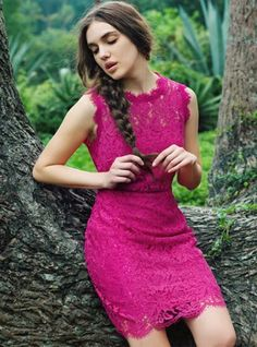 lace madness bodycon magenta dress