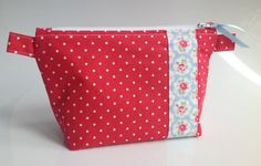 Cath Kidston Red Mini Dot Fabric Cosmetic Bag with Probence Fabric Trim by sewmoira on Etsy