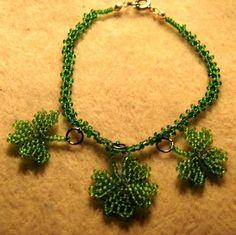 Lucky Shamrock bracelet by mysticbeader on Etsy, $4.00