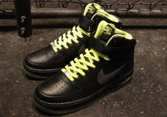 NIKE AIR FORCE I HIGH '07 BLACK/BLACK-VOLT #sneaker