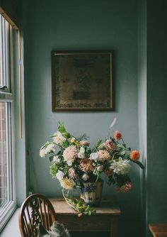 Teal Room with Fresh Flowers by India Hobson for Design Sponge