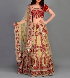 #Beige & #Red Hand Embroidered #Net & #Silk #Lehenga #Set from #Regalia By #Deepika at #Indianroots