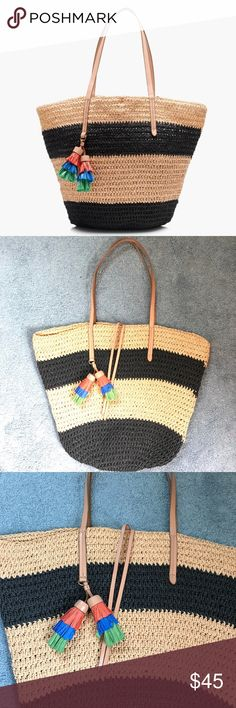 J.Crew striped straw market tote Used once. Perfect condition. J. Crew Bags Totes