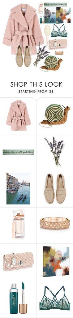 """pastel coat"" by grinevagh ❤ liked on Polyvore featuring Carven, Kate Spade, Transpac, HUGO, Balenciaga, Harry Kotlar, Miu Miu, Marmont Hill, Jane Iredale and La Perla"