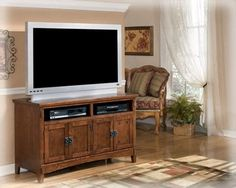 Vintage Casual Medium Brown Oak 50 TV Stand Entertainment Console -- Continue to the product at the image link. (This is an affiliate link) #AshleyGameandRecreationRoomFurniture