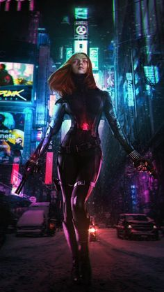 here is another artwork which I made, part 2 of my Avengers x Cyberpunk series. I thought this Black Widow concept was cool, so I decided to include it with the neck gear and cyber arms. Cyberpunk 2077, Cyberpunk Kunst, Cyberpunk Girl, Cyberpunk Movies, Monster Illustration, Science Fiction, Cyberpunk Aesthetic, Shadowrun, Film Serie
