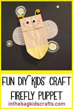 Learn how to make this fun and easy DIY kids' craft firefly puppet using a paper bag and washi tape at inthebagkidscraft…! We make crafting with you… - New Sites Paper Bag Crafts, Paper Plate Crafts For Kids, Bug Crafts, Insect Crafts, Summer Crafts For Toddlers, Diy Crafts For Kids Easy, Kids Crafts, Daycare Crafts, Fun Diy