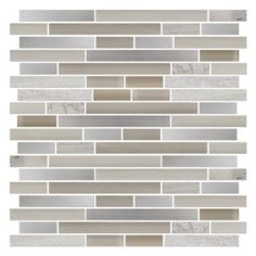 This mosaic features a mixture of stainless steel, travertine and several shades of glass tile.  A neutral blend of creamy beige and warm grey mixed with the cool stainless make this item extremely versatile.