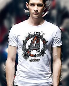 Cool Avengers Age of Ultron mens t shirt superhero Captain America tee Avengers Age, Age Of Ultron, Men Clothes, Cool T Shirts, Captain America, Cotton Fabric, Handsome, Superhero, Tees