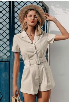 Beach Playsuit, Short Playsuit, White Playsuit, Cute Overalls, Polyester Material, Belted Shorts, Long Sleeve Bodysuit, Rompers Women, Ideias Fashion