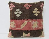 """Turkish cushion 18"""" sofa throw pillow kilim pillow cover decorative pillow case couch outdoor floor bohemian boho ethnic rustic accent 21773"""