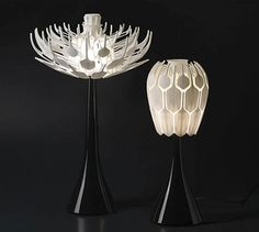 This Bloom Table Lamp is contemporary which is inspired by nature and looks like the shape of flowers. This lamp, designed by Patrick Jouin,  was created so that the shade can expand or collapse from a closed bud to a full blossom just like a flower! This transformation allows different amount of light to shine through this distinctive and unique table lamp.