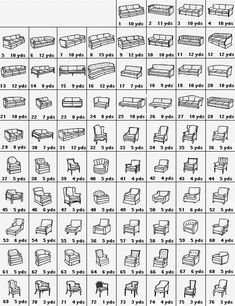 Upholstery Yardage Chart.gif (500×650) useful for recovering couch / chair ottoman