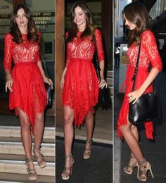 My composite lace dress: Little red lace dress definitely without the uneven hem