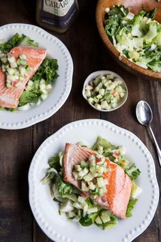 I LOVE almost all of her recipes. So many foods and dishes that are right up my alley! Salmon with apple cucumber avocado salsa Seafood Dishes, Seafood Recipes, Cooking Recipes, Healthy Recipes, Shellfish Recipes, Paleo Meals, Whole30 Recipes, Fall Recipes, Clean Eating
